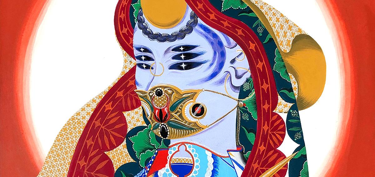 Rajni Perera, 'Traveler', mixed media on stretched cotton rag stock, detail