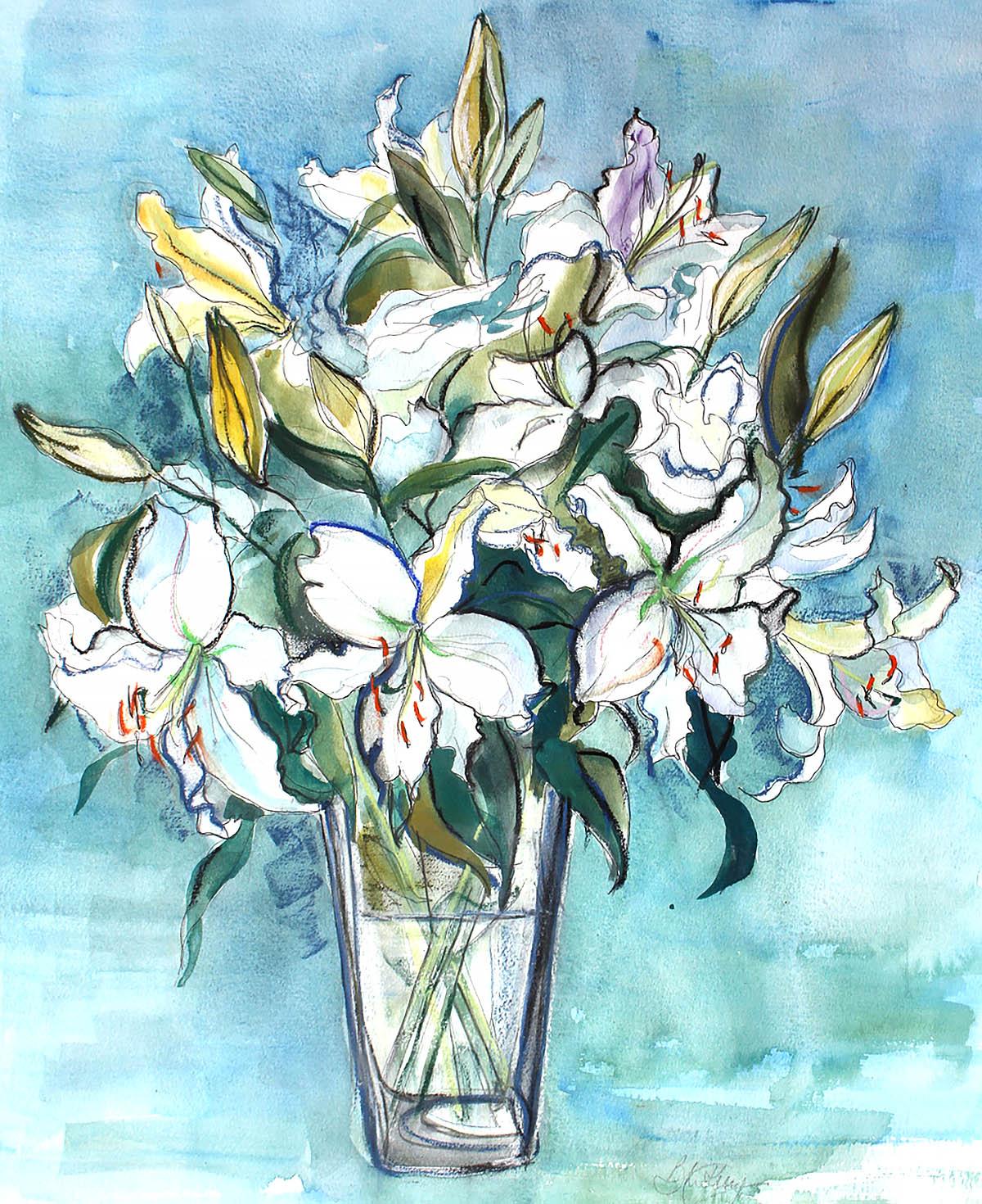 Barbara Kelly, 'Lillies', watercolours