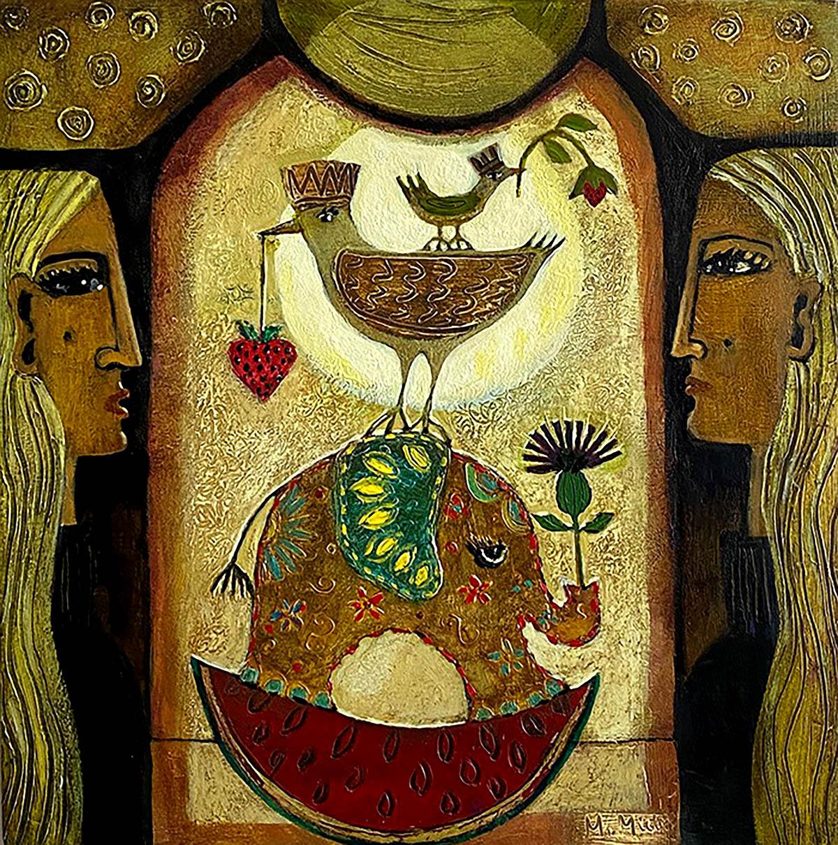 Morag Muir, 'Social Distance', acrylic on board