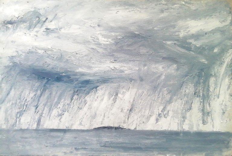 Steven Hood, 'Rain Clouds over Inchkeith Island', oil on board
