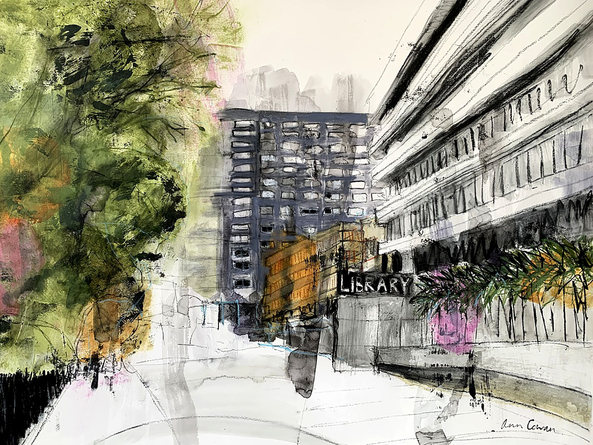 Ann Cowan, 'Edinburgh University', acrylic and mixed media