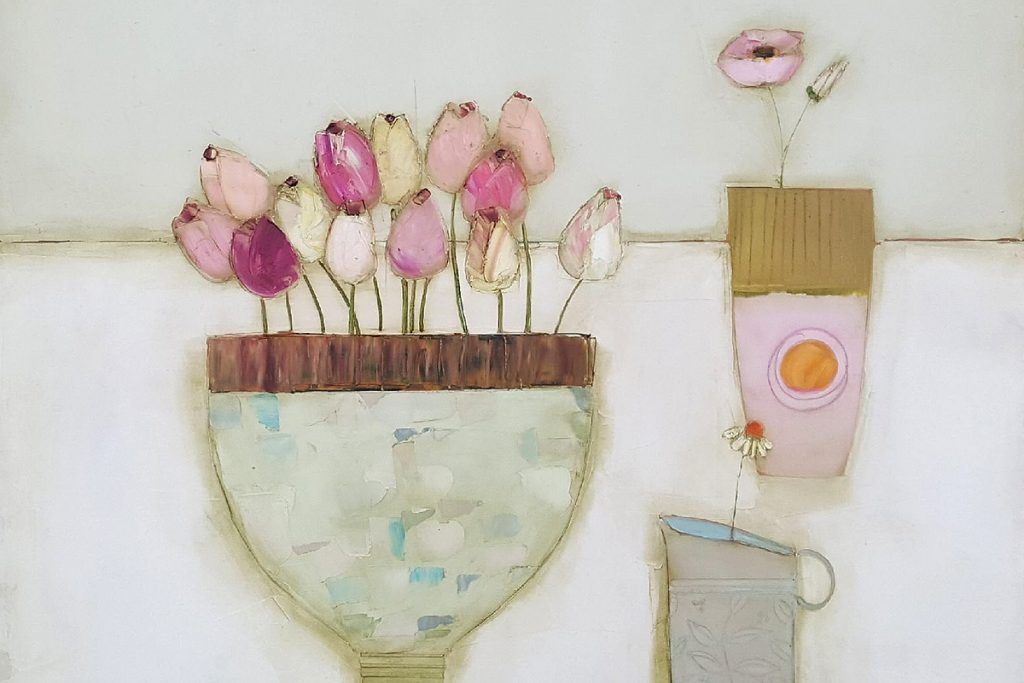 Eithne Roberts, 'Feeding the Tulips', oil on canvas