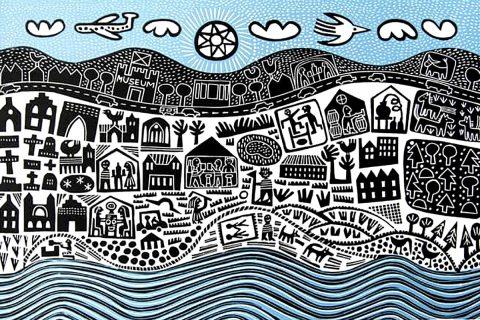 Hilke McIntyre, 'St Andrews', linocut