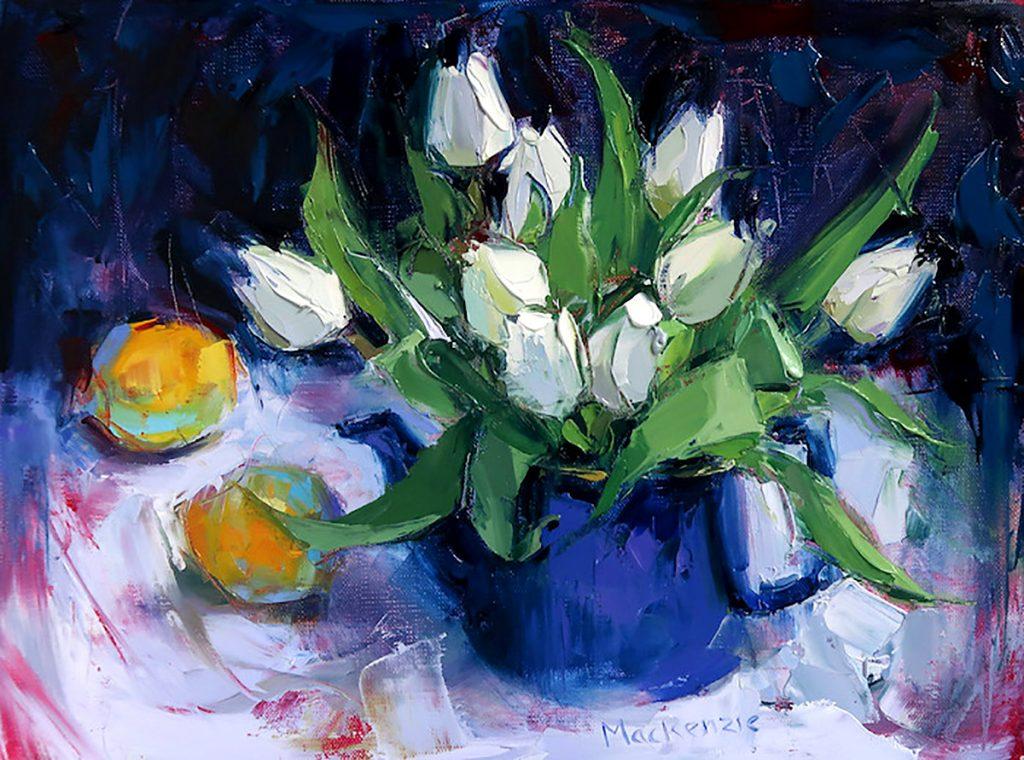 Jennifer Mackenzie, 'Teapot and Tulips', oil on canvas