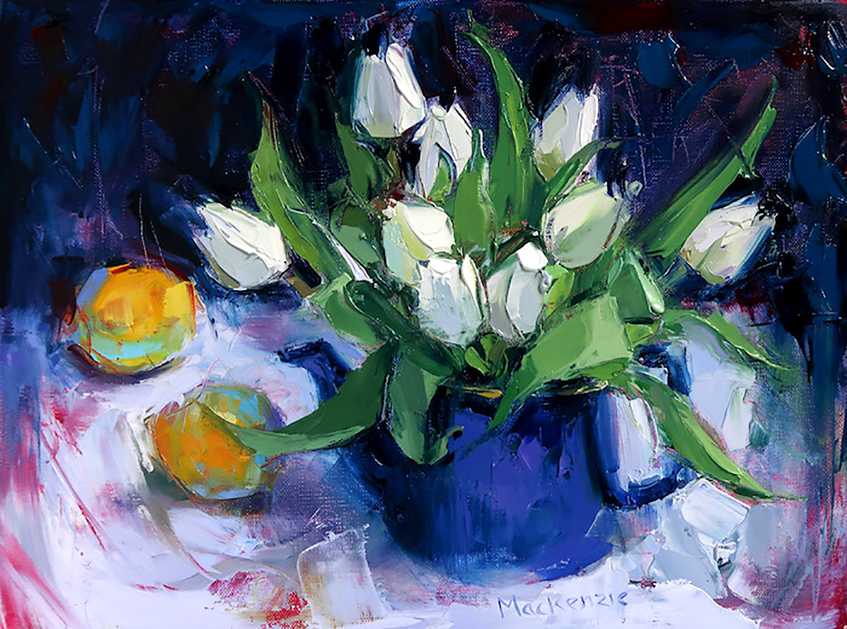 Jennifer Mackenzie, 'Teapot and Tulips', oil on canvas