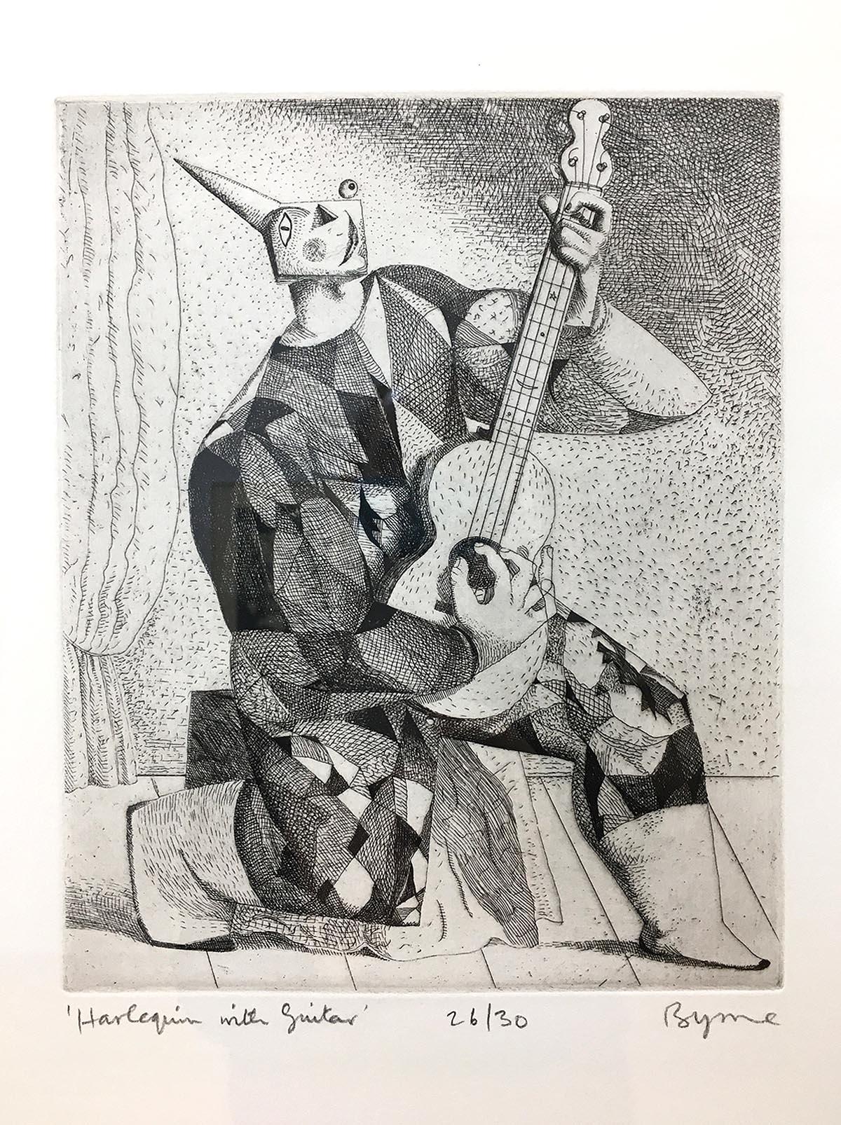 John Byrne, 'Harlequin with Guitar', etching.jpg