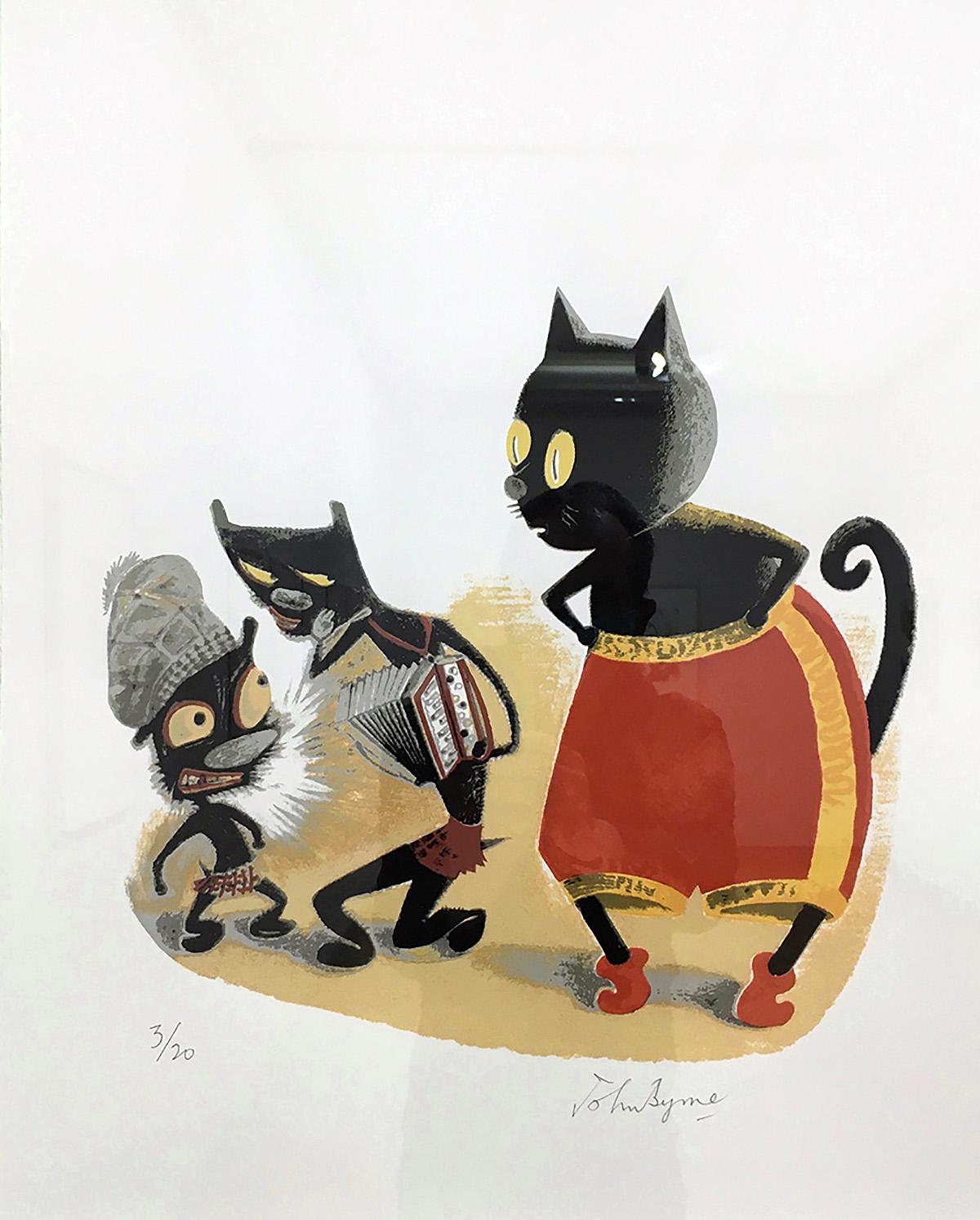 John Byrne, 'Three Cats', screenprint.jpg