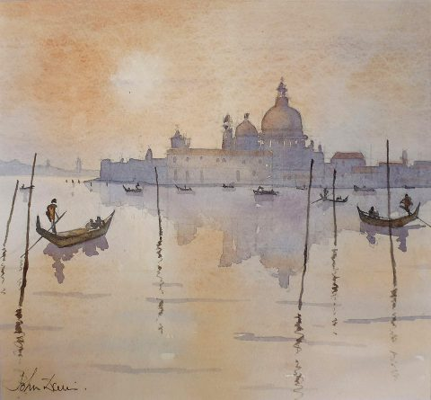 John Davie, 'Daybreak, Grand Canal', watercolour