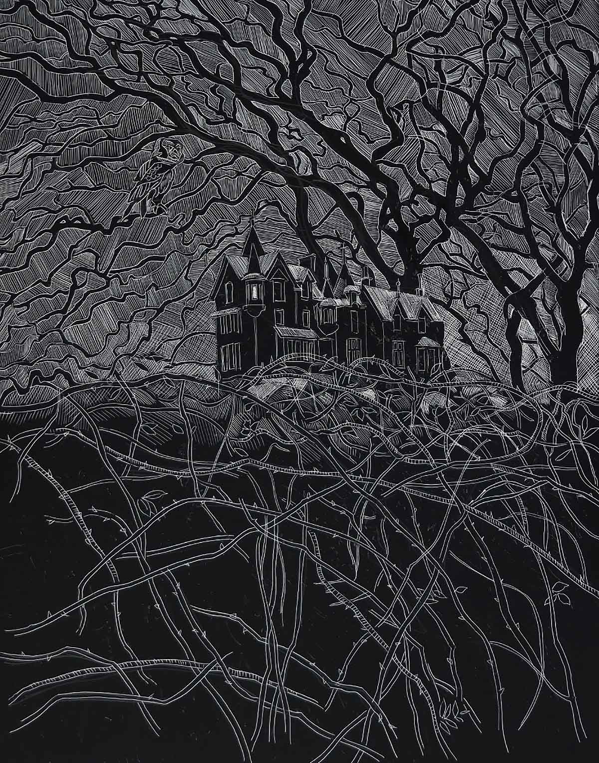 Lachlan Goudie, 'Sleeping Beauty's Castle', scraperboard