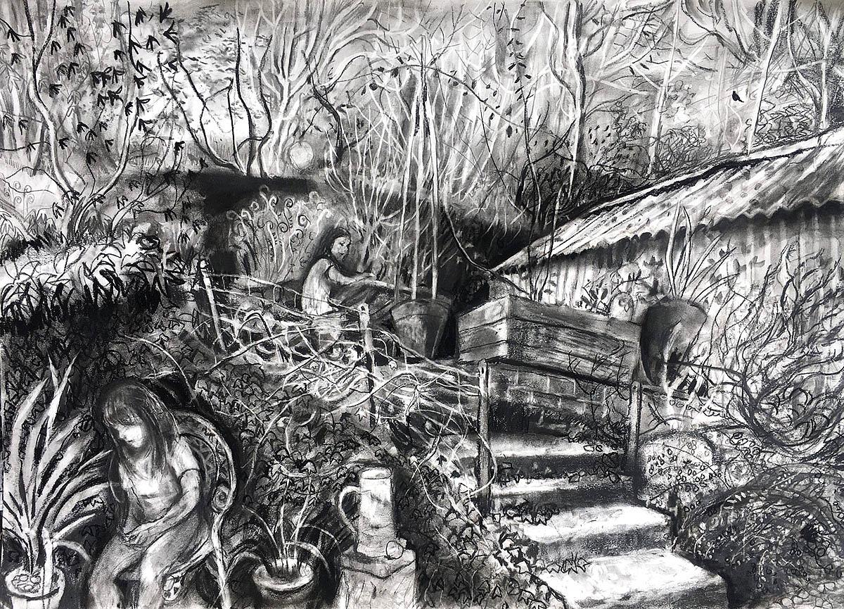 Sarah Longley, 'Lockdown Study', charcoal on paper