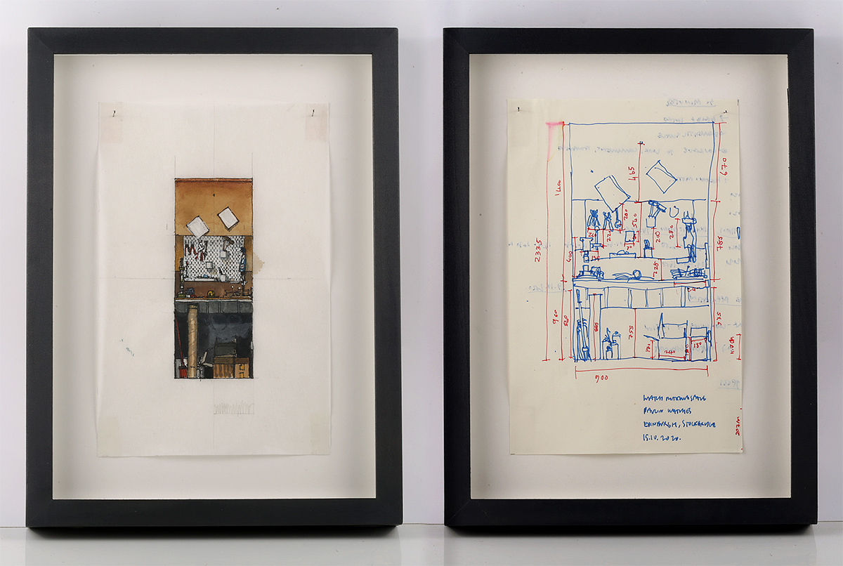 Will Knight, 'Scale Drawing of a Watchmaker's Workspace', pen and watercolour, and 'Sketchbook Survey Drawing of a Watchmaker's Workspace', pen.