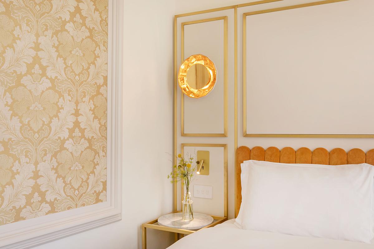 William Morris-inspired wallpaper in a Junior Suite at the Melia Kensington