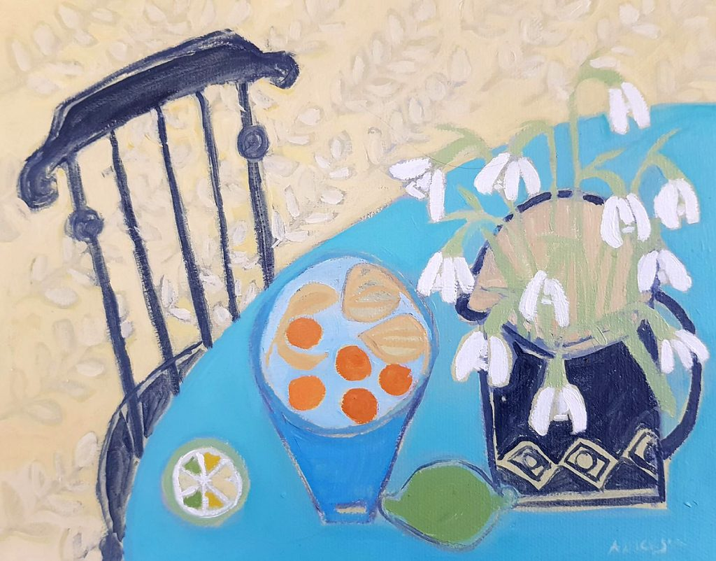 Alison Dickson, 'Snowdrops and limes', acrylic