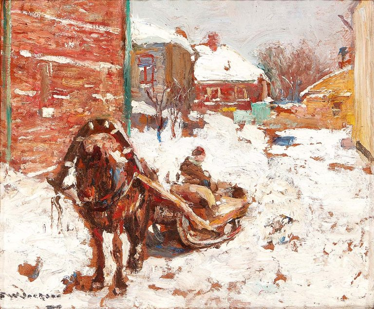 Frederick William Jackson RBA, 'Horse Drawn Sled In The Snow Russia', oil on panel