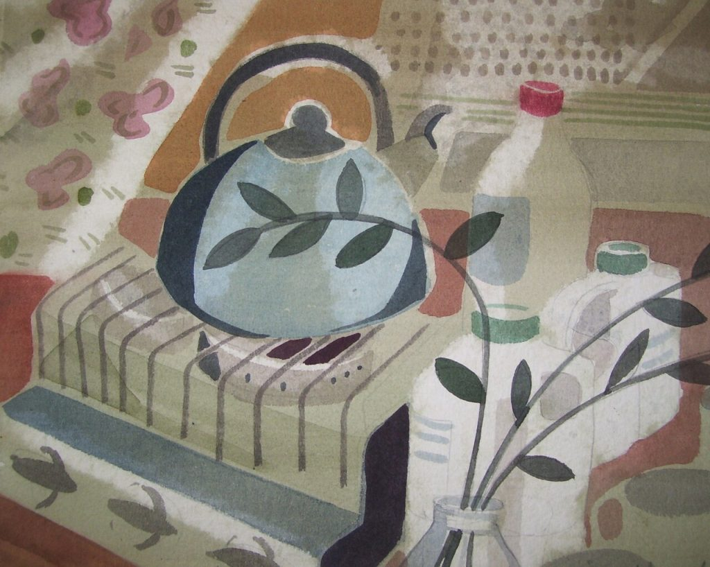Madeleine Hand, 'Kettle's On', watercolour