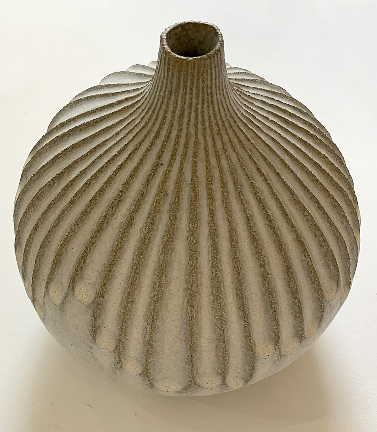 Michele Bianco, 'Rindle Carved Bottle', hand-carved grey grogged stomeware, off-white glaze