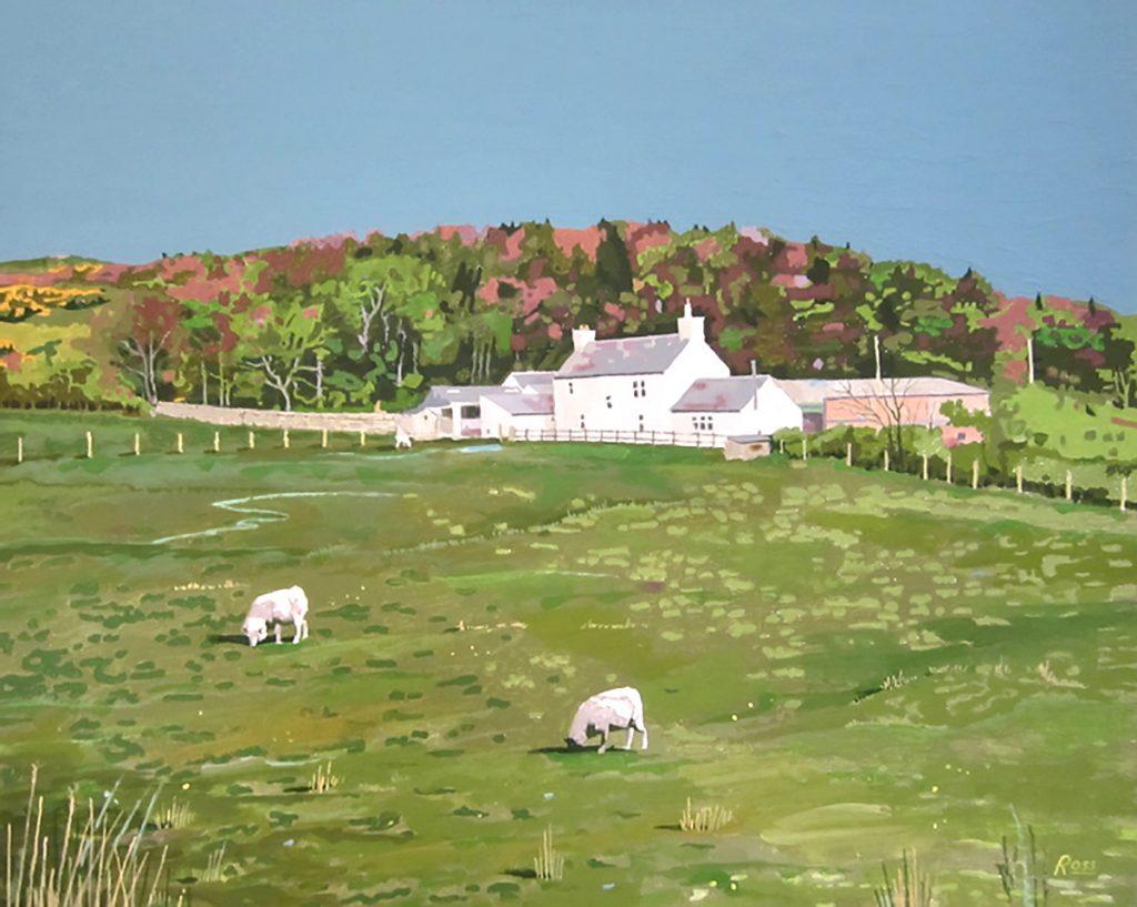 Richard Ross, 'Farm On Hillside (by Gelston)', acrylic gouache