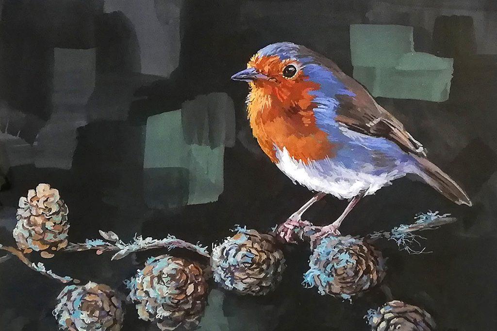 Sonas Maclean, 'Red Is The Colour', gouache