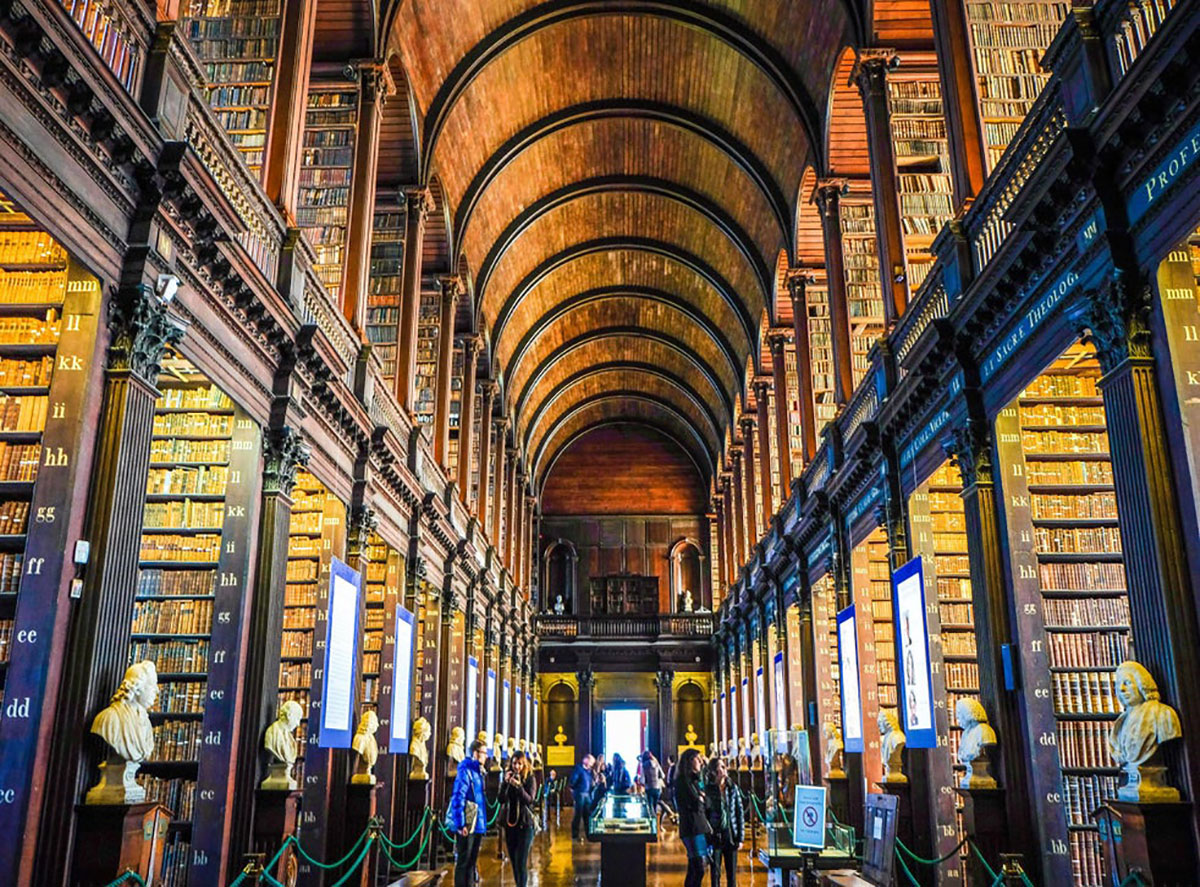 The magnificent Long Room in the Old Library at Trinity College, home of the Book of Kells