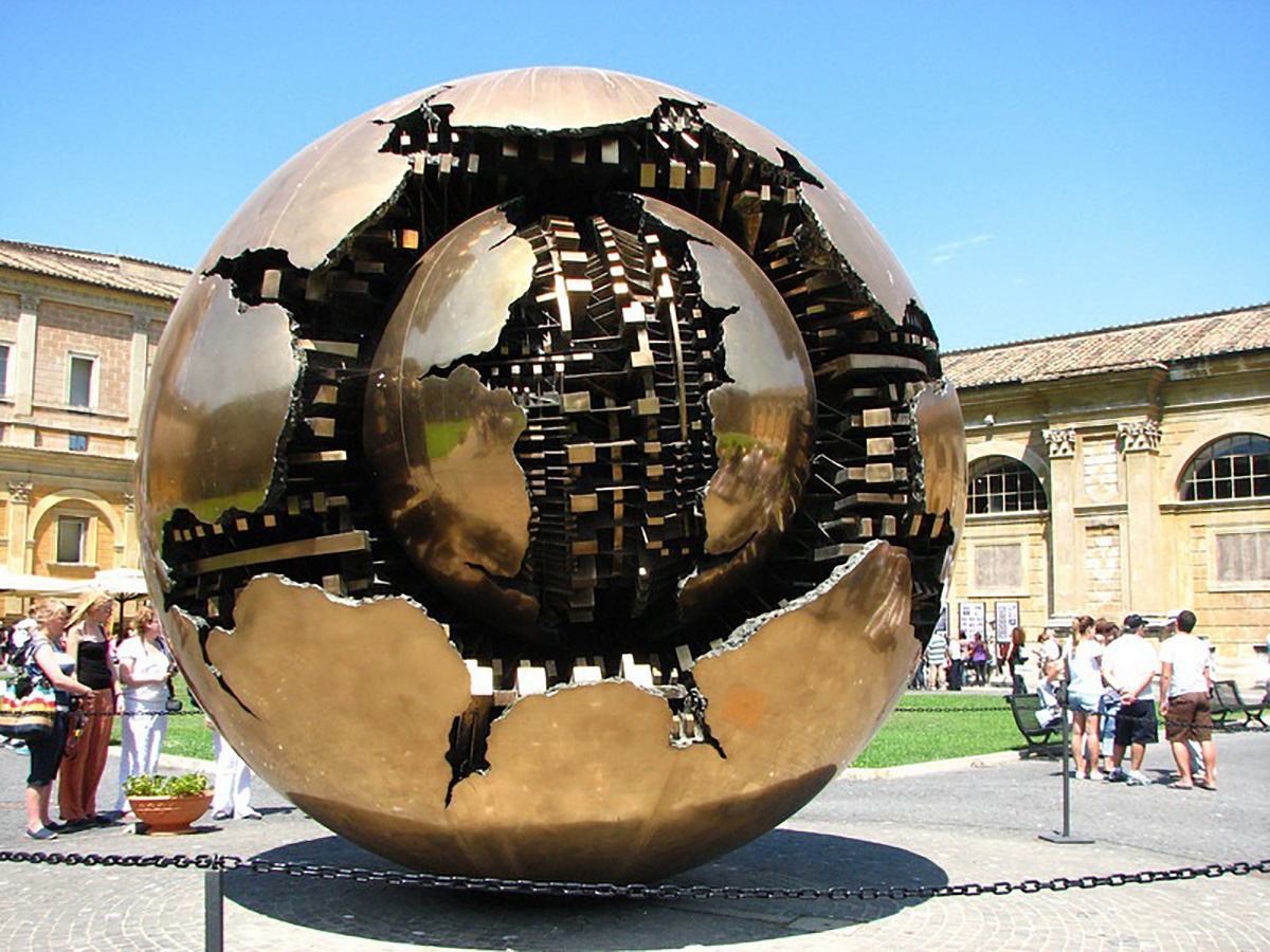Arnaldo Pomodoro's Sphere Within Sphere stands in the grounds of Trinity College.