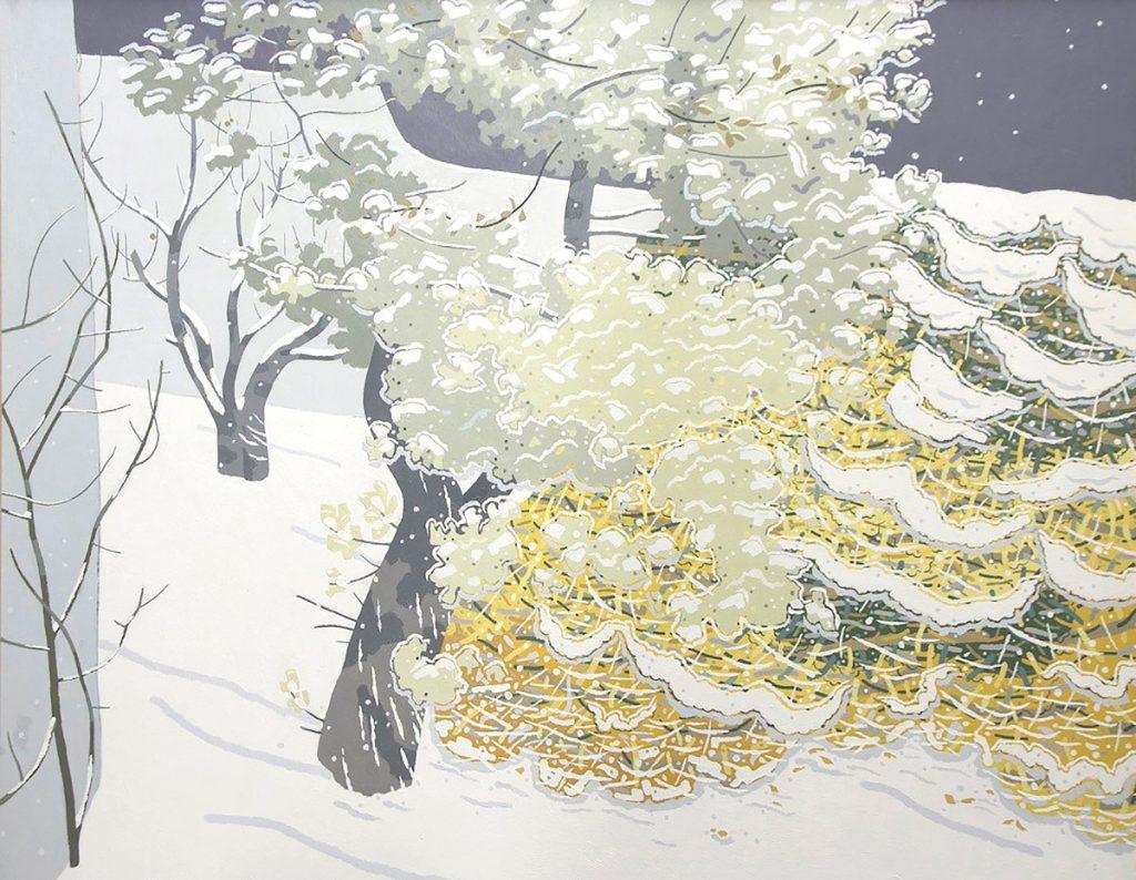 Barbara Balmer, 'Snow Blossom', oil on hardboard