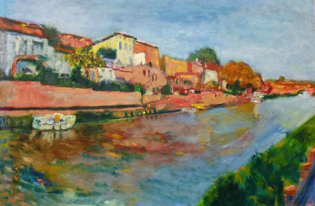 Gerald McGowan, 'Canal du Midi, Paraza', oil on board