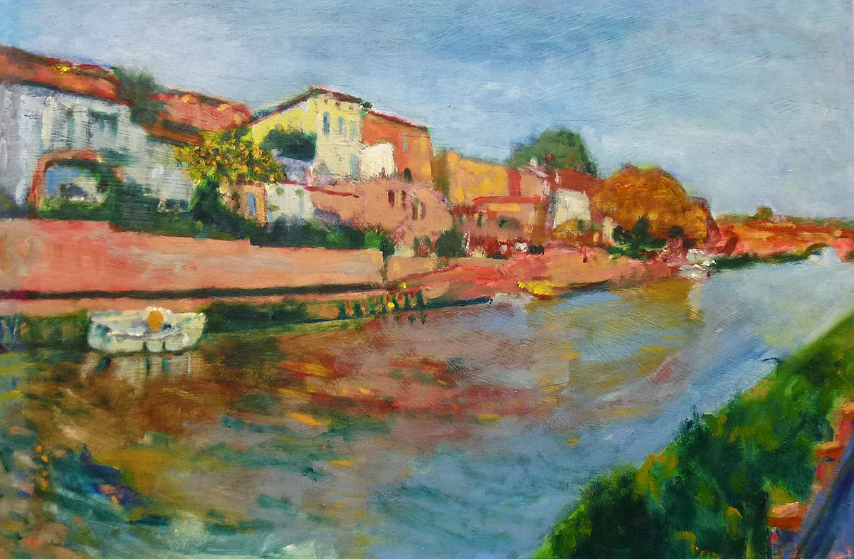 Gerald McGowan, 'Canal du Midi, Paraza', oil on board