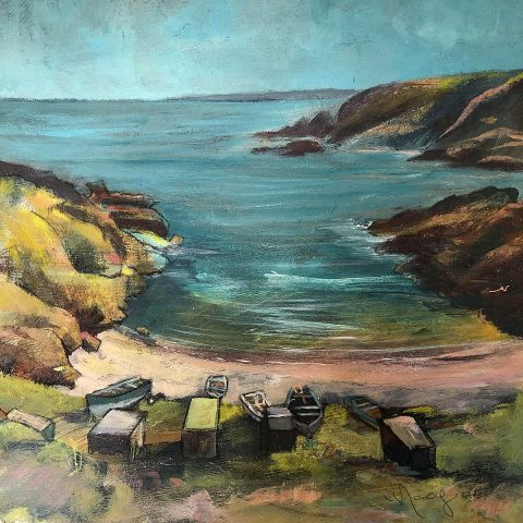 Morag Stevenson, 'Sunny Day at The Shore', mixed media on board