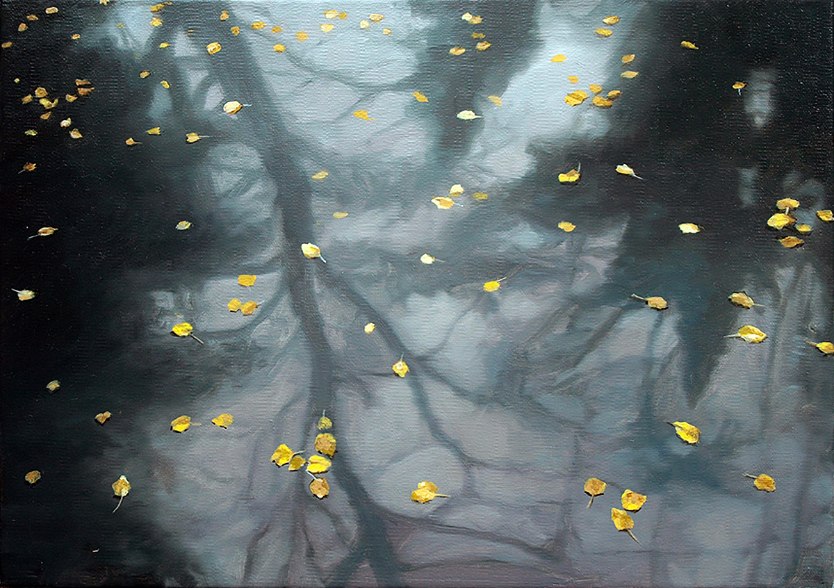 Philip Braham, 'Leaves in a Pool', oil on linen