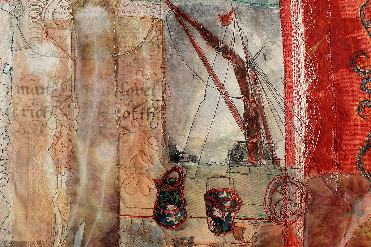 Cas Holmes, Red Barge Sails', textiles, found materials, collage, mixed media (Surface Gallery)