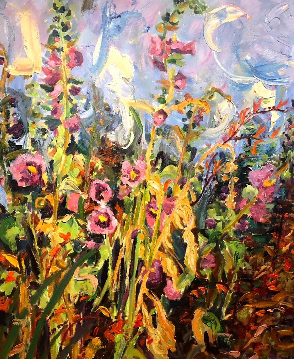 David Mackie Cook, 'Hollyhocks, Artist's Garden', oil on panel