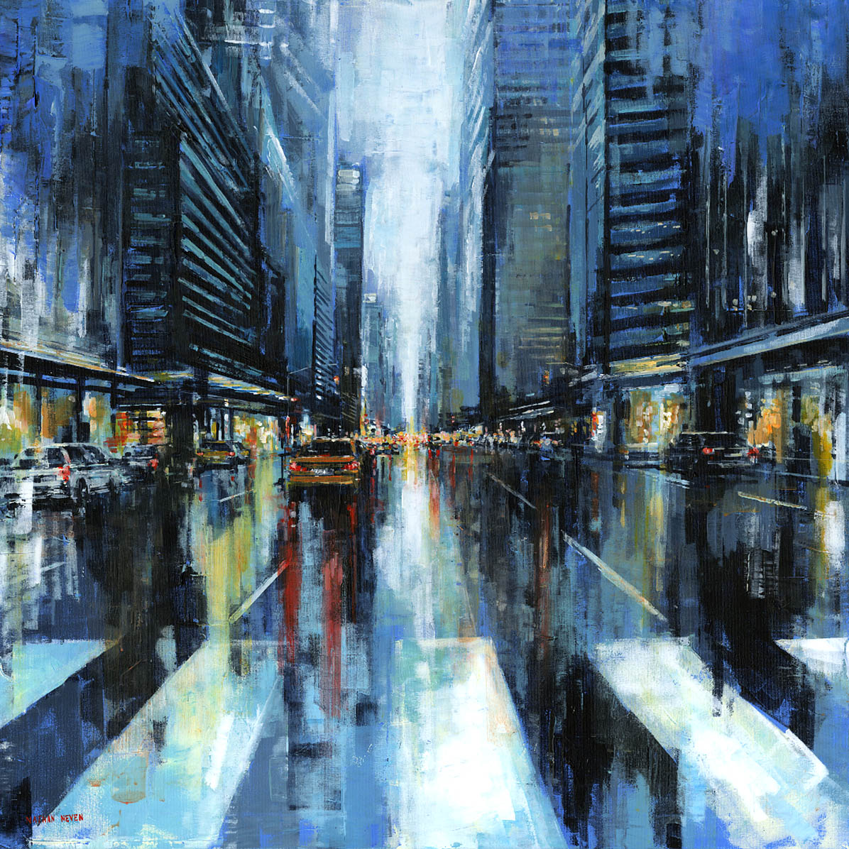 Nathan Neven, 'Midtown Vibe' oil on canvas