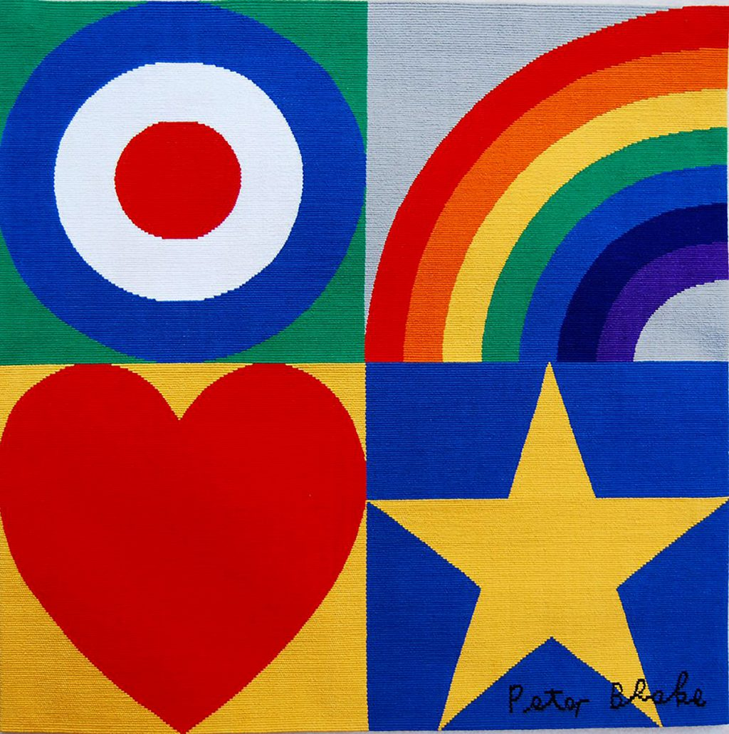 Peter Blake, 'Target, Rainbow, Star, Heart', handwoven tapestry. Cotton on cotton warp, woven by Ben Hymers