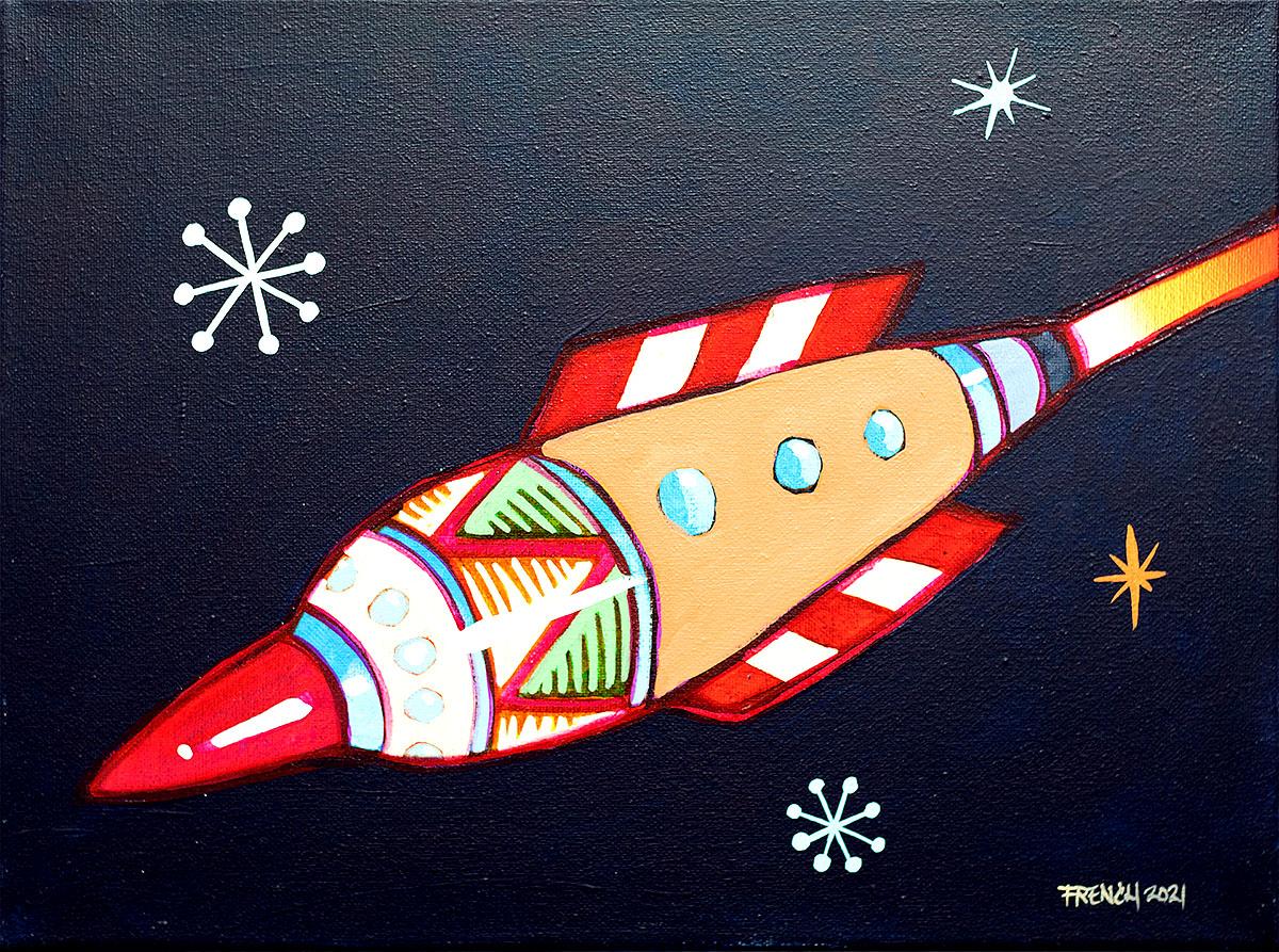 Stephen French, 'Retro Rocket', acrylic on canvas