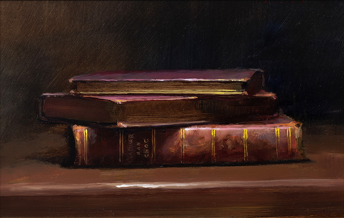 Andrew Sinclair, 'Three Books', oil on board