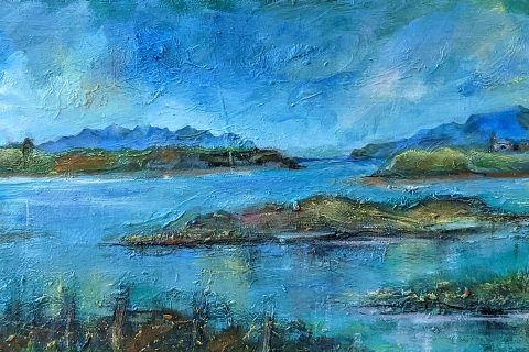 Iona Leishman, 'Summer Day in the Hebrides - Skye and Rum from the Island of Canna', oil and mixed media on board