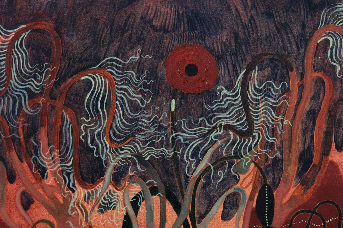 James Owens, 'Tendril thrill and the Poppy's Fickle Will', oil on canvas (detail)