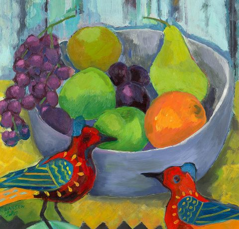 Jeanette Lassen, 'Still Life With Birds' oil on board
