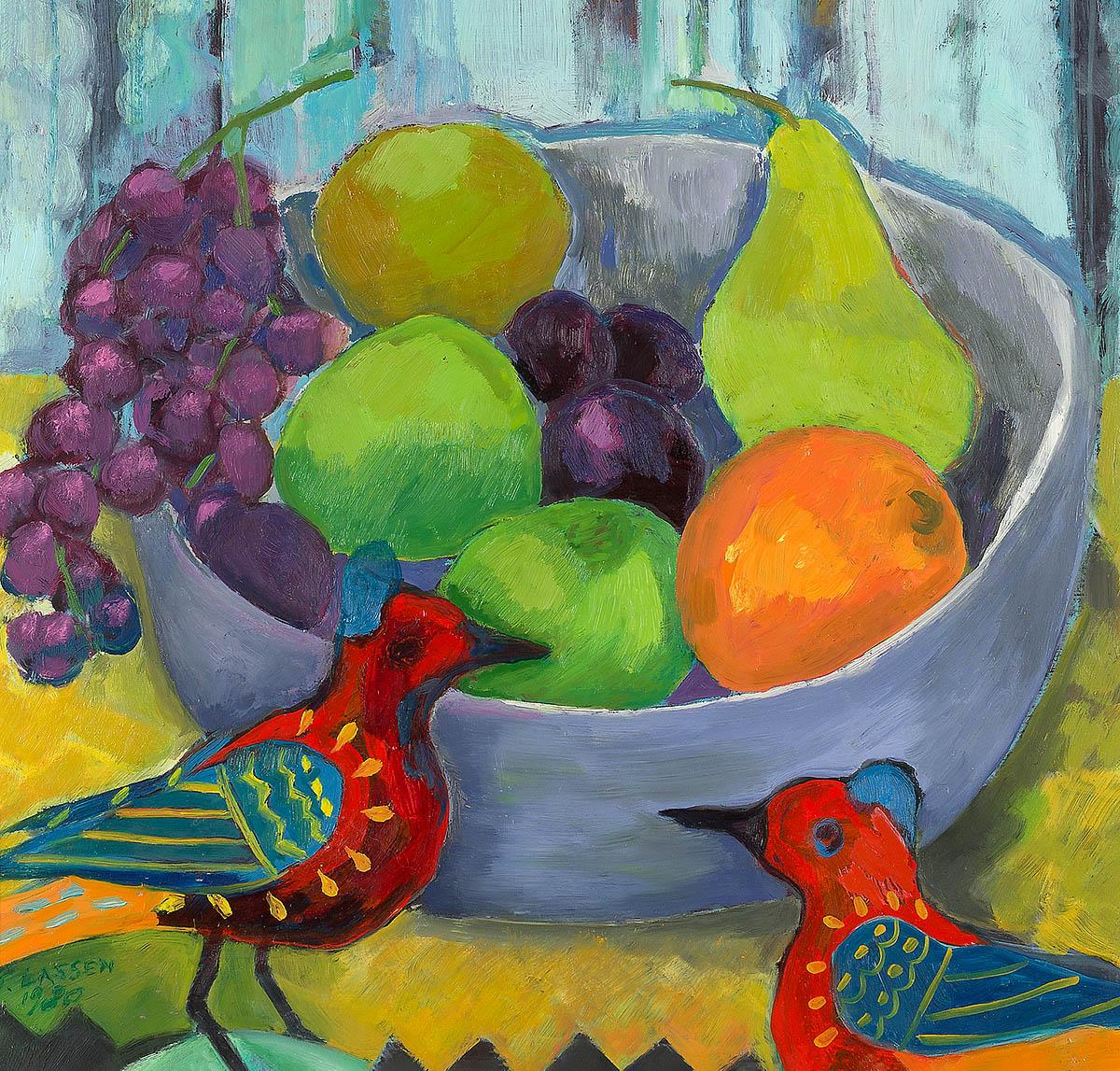 Jeanette Lassen, 'Still Life With Birds' oil on board
