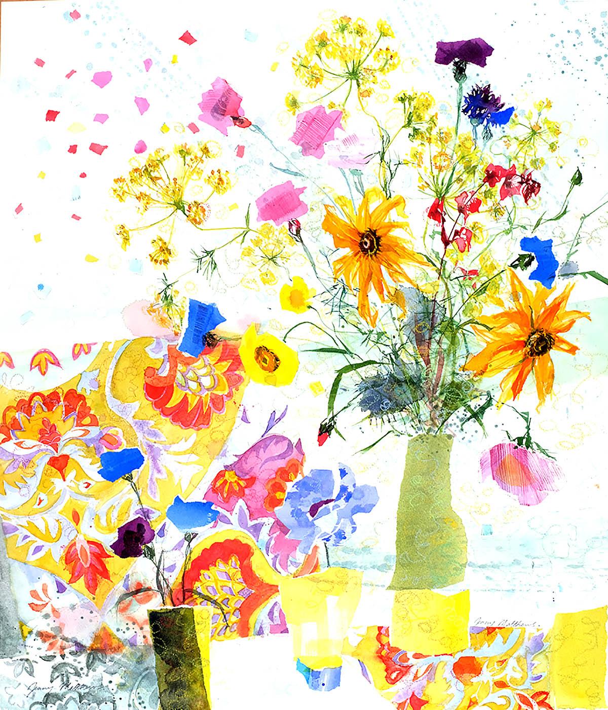 Jenny Matthews, 'Deep Purple Cornflower', watercolour and collage