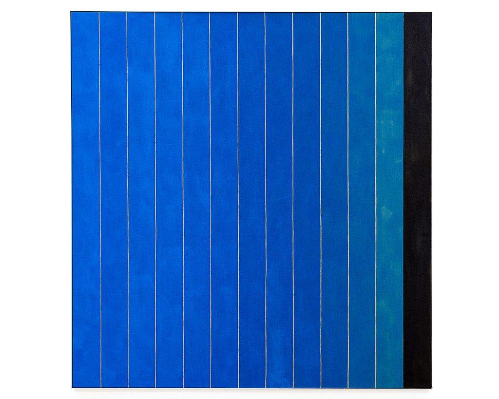 Michael Wilkinson, '13 Stripes Blue', acrylic on linen, aluminium frame