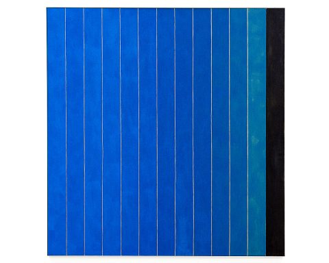Michael Wilkinson, '13 Stripes Blue', acrylic on linen, aluminium frame