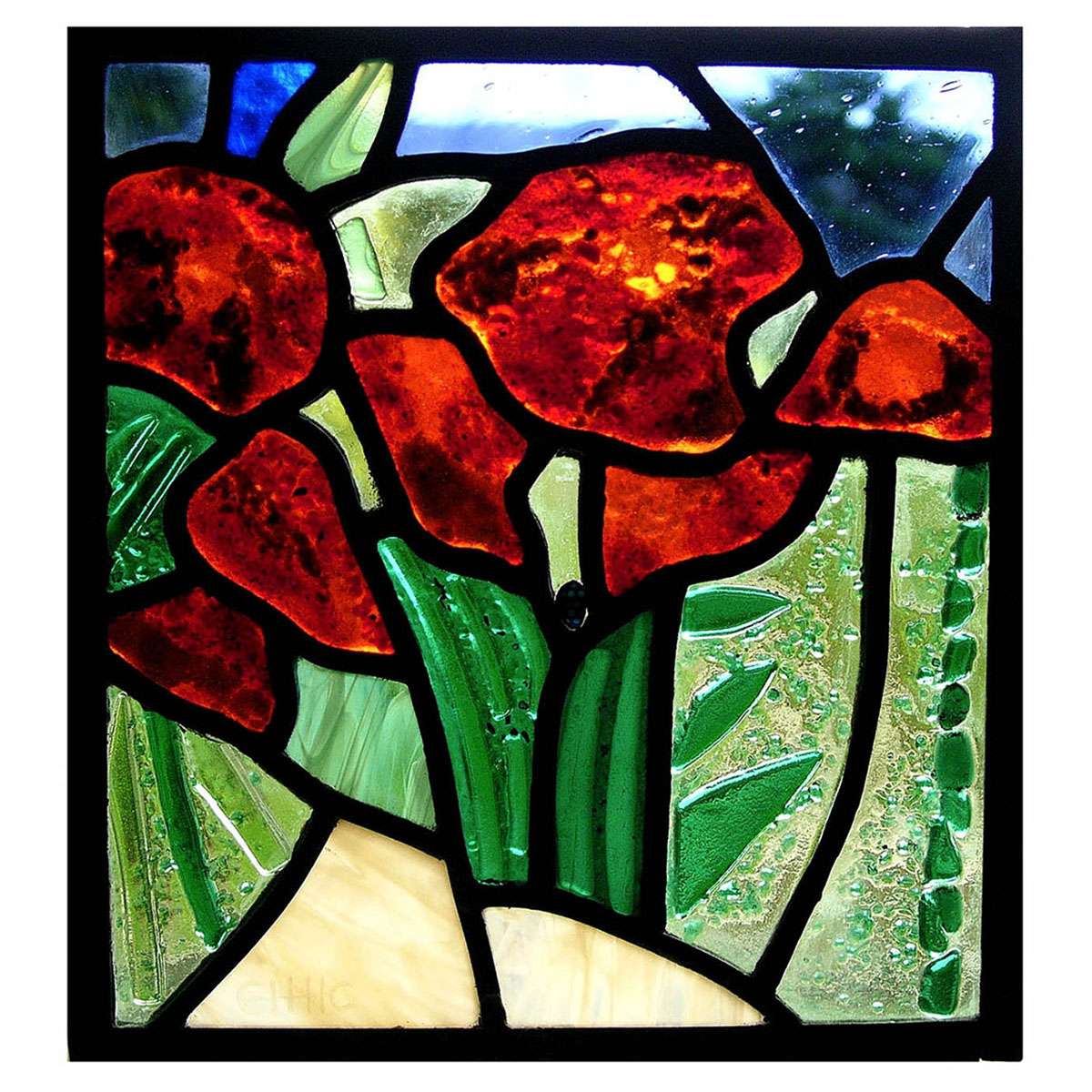 Elizabeth Cull, 'Poppies', glass