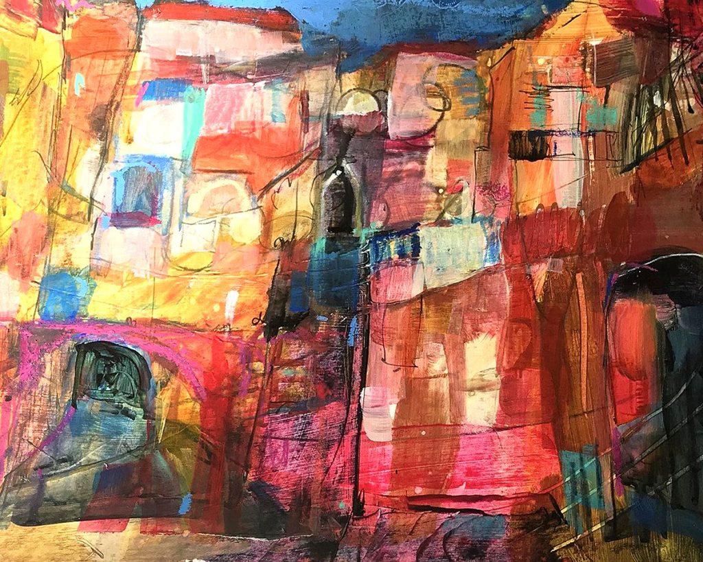 Sandra Dickie, 'Washing Day, Venice', mixed media