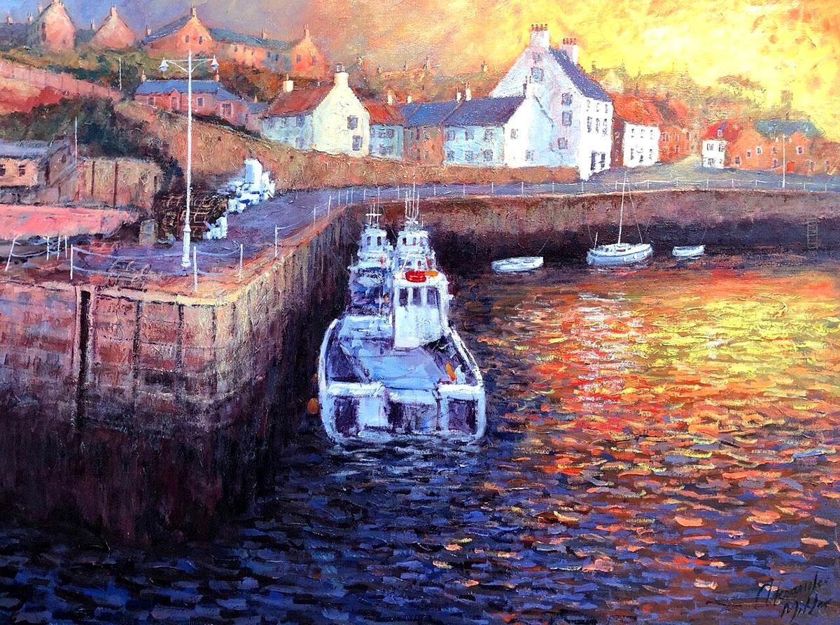 Alexander Millar, 'A New Day Dawns, Crail Harbour'