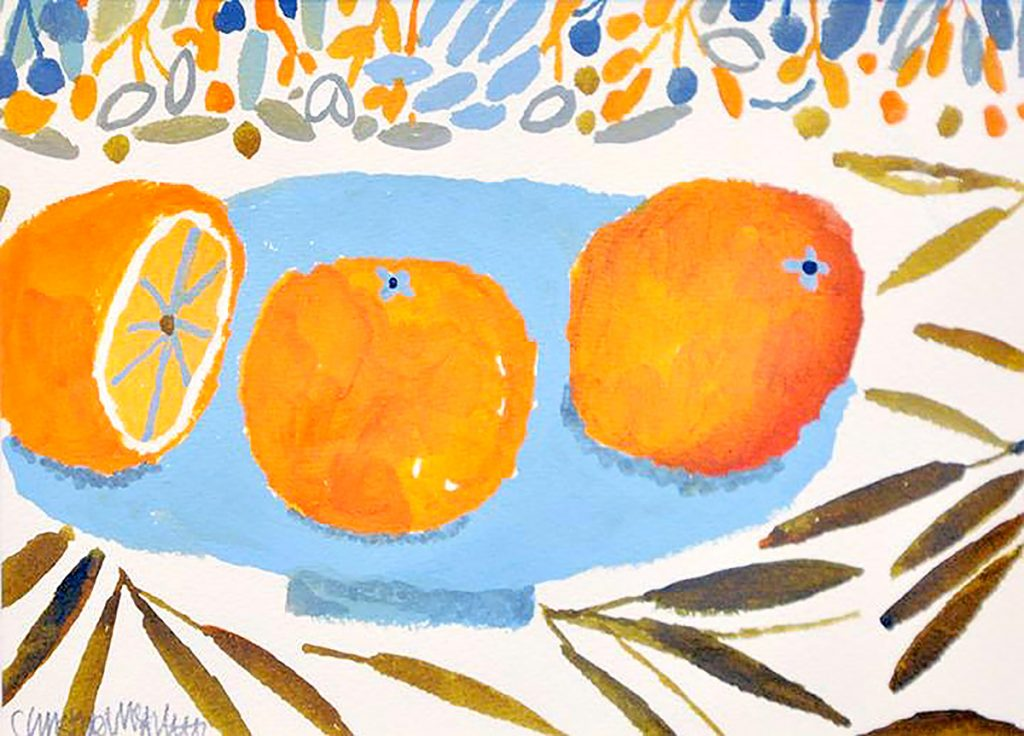 Christine McArthur, 'Clementines', watercolour