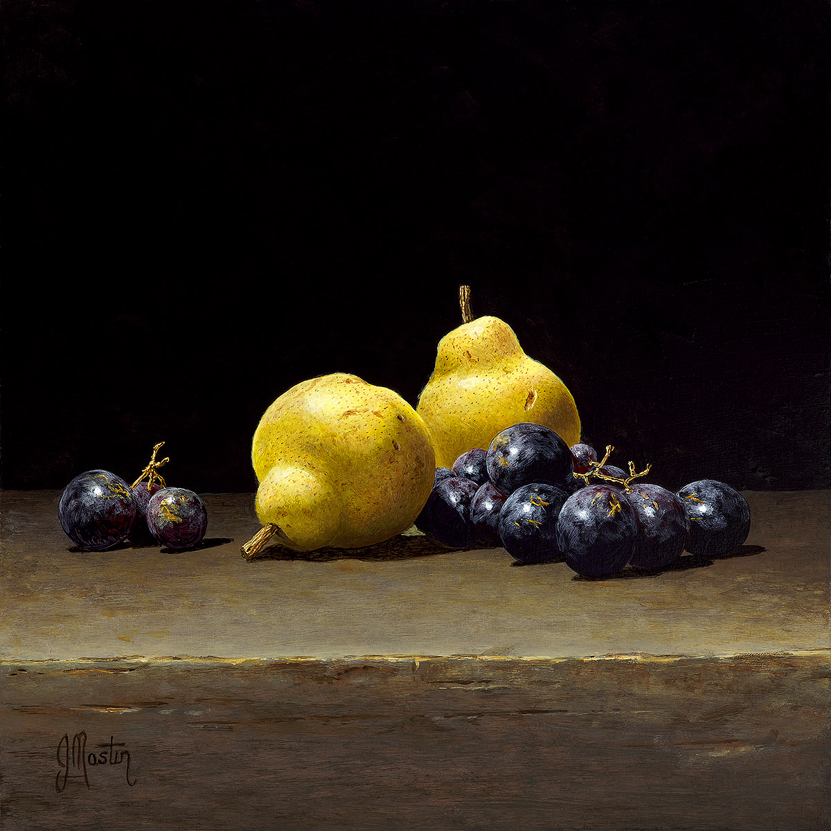 Ian Mastin, 'Still Life with Pears and Grapes', acrylic on board