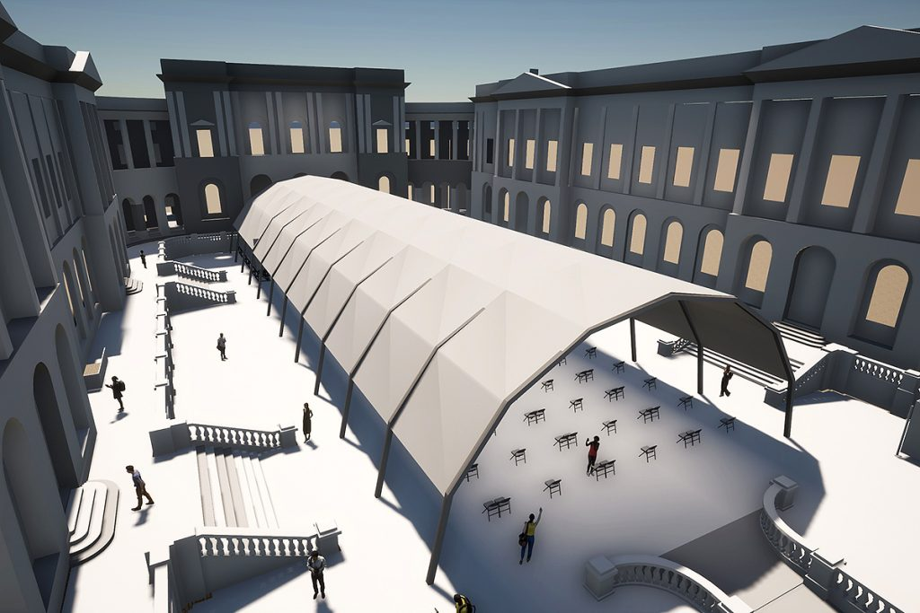 Artist's impression of a temporary performance venue in the Old College Quad