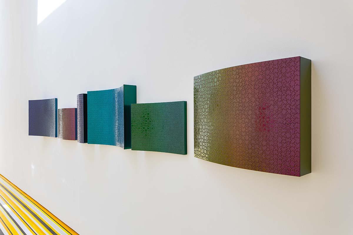 Jim Lambie, 'Horizon (Goldfinch)', Found jigsaw, MDF, automotive paint