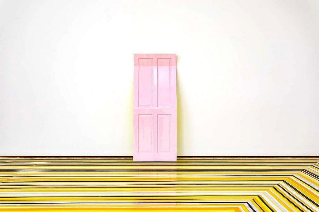 Jim Lambie, 'Pink Moon', wooden door, acrylic mirror, automotive paint II
